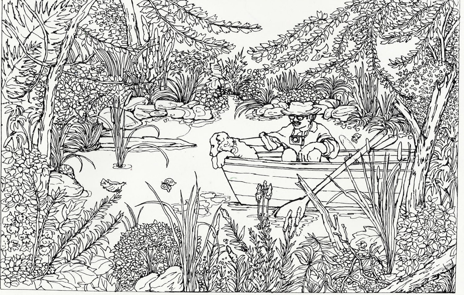 Outdoors coloring pages for adults