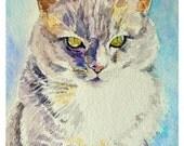 Cat Portrait Watercolor Art Print