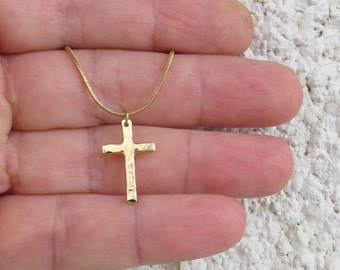 hammered  gold cross necklace. simple cross, classic cross, fully handmade