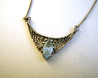 Sterling Silver Filigree Necklace Ice Blue Crystal Stone Topaz Delicate