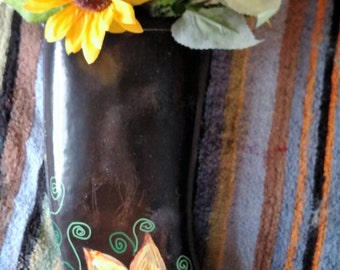 Painted Rain Boot, Boot Planter, Hand Painted Yellow Sunflowers , One of a Kind,Boots, Black Boot Planter, Sunflowers
