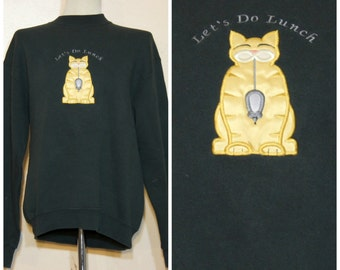 Black Cat Sweatshirt Cat Eats Mouse Medium Large Cat Lady Pastel Goth Creepy Cute