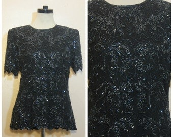 80s Black Beaded Top Medium Flapper 80s does 20s Party Sequin Blouse