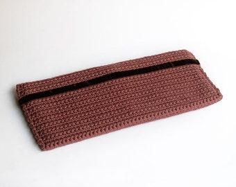 SALE!! 45% OFF!! Marsala pink crochet clutch, handmade baguette purse with brown velvet ribbon.