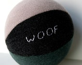 Personalized dog toy with squeaker, squeaky dog toy, toy for pugs, fabric dog toy, reclaimed dog toy, large sized ball, denim dog toy