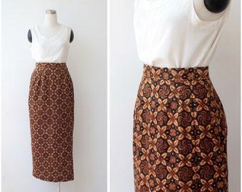 1960's Maxi Skirt Small Mod Skirt Long Pencil Skirt S High Waist Paisley Ethnic Earth Tones Print Skirt