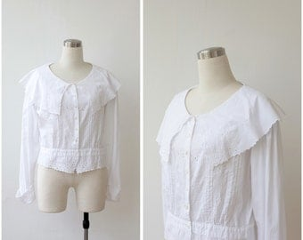 1980s White Cotton Blouse Embroidered Eyelete Top Collared Prairie Button Up Blouse