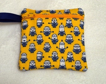 Handmade  Minions - Despicable Me  -  Zippered pouch - Gift Card Holder - FREE shipping