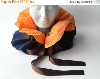 ON SALE Felted scarf, Scarf felt, brown blue scarf, woman scarf, wool felted scarf, Ready for shipping, Great gift idea