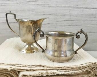 Silver Plate Creamer and Sugar Bowl-Mixed Set