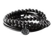 Black Lather Bracelet Man Jewelry Mens Cool Bracelets