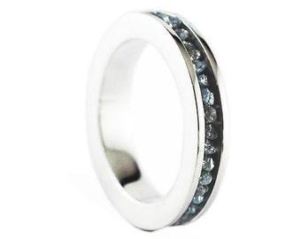 Silver Wedding Band Blue Uncut Raw Diamond Ring Man Woman Personalize Jewelry