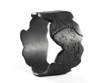 Black Ring Man Scratched Rings Mens Personalize Jewelry