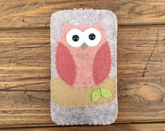 wool felt pink and brown owl cell phone case - iphone 7, iphone 5, iphones 6, iphone 6 plus, iphone se, android, samsung galaxy s4 s5 s6