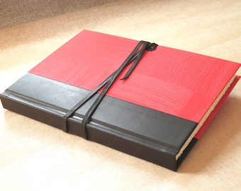 Leather Journal Sketchbook with Black Spine and Red Pastepaper