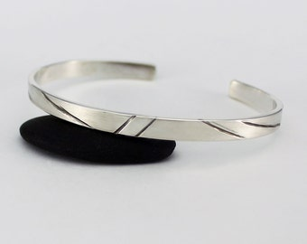 Handcrafted Sterling Silver 6 MM Wide Cuff Bracelet Large Size Contemporary Minimalist Artisan Jewelry Design 0765542511315