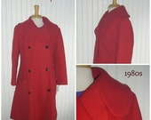 Sale Valentines 1980s DOUBLE BREASTED COAT, Red, Large,  #37802