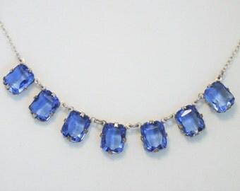 Vintage blue glass necklace. Dainty necklace