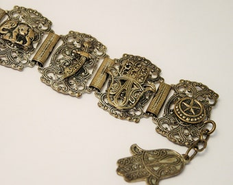 Vintage souvenir bracelet. Souvenir of Morocco. Elephant. Scimitar. Hand of Hamsa
