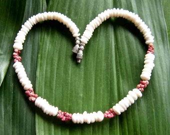 Kahelelani Puka Shell Necklace, Ni'ihau Shells, Puka Shell Choker, 'Akala Pua Pink/Forbidden Island Indigenous Shells/Hawaiian Beach Jewelry