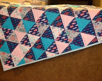 Baby Girl Tribal Triangle Quilt