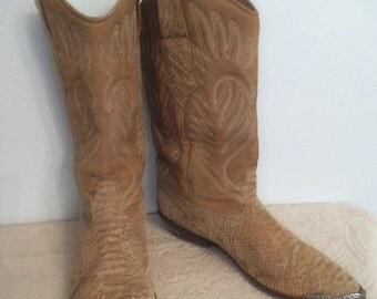 Vintage Tan  Leather ZODIAC International Western boots ~ Woman's 7 1/2