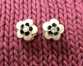 European Flower Spacer Beads, Two Black and White Metal Enamel Spacers, Large 5mm Hole, approx. 13x12mm
