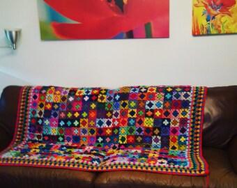"""Mini Granny Squares Blanket Afghan  70"""" x 60"""" 320 squares In Stock"""