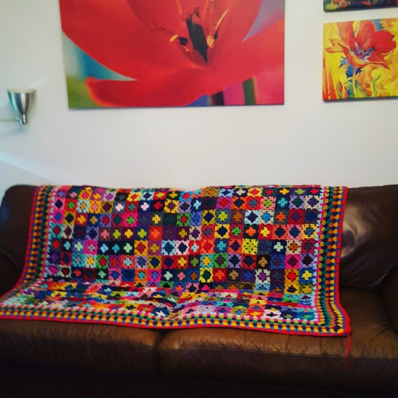 "Tiny Mini Granny Squares BLANKET Afghan 70"" x 60""  Crochet Sofa Throw 320 squares"