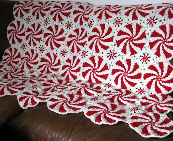 Pinwheel Peppermint Swirl Crochet BLANKET Afghan Throw