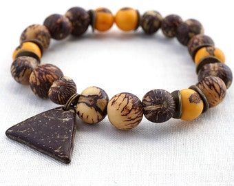 Summer Party Tribal Natural Tagua Nut Bracelet Coconut Triangle Charm Bracelet Bohemian Eco Friendly Jewelry Vegetable Ivory Beaded Bracelet