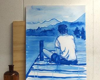 Painting of man relaxing at the shore - mixed media - original