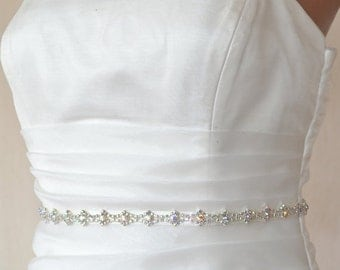 Elegant Slim Bright Rhinestone Beaded Wedding Dress Sash Belt