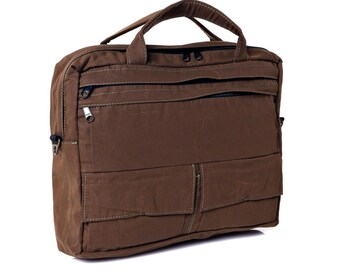 Messenger Bag, Briefcase,Padded laptop Bag, travel Bag- D.T Brown canvas