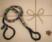 Dog Leash and Collar Combo WITH TUG! paracord, Black and rainbow