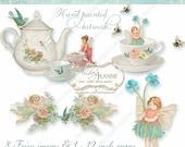 Fairy Clipart  Digital Fairies Tea Party Teacup Teapot Victorian Damask Floral Angels whimsical cute fun Birthday Garden Butterfly E15-20C
