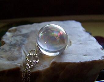 Angel Aura Quartz Crystal Sphere Pendant
