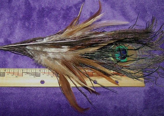 Natural Peacock and Pheasant Feather Fan with Charms