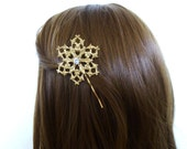 Gold Snowflake Hair Pin Snowflake Bobby Pin Snowflake Hair Clip Snowflake Hair Accessories Art Deco Hair Bobby Pin Art Deco Hair Clip Winter