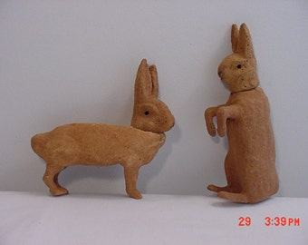 Vintage Paper Mache Rabbit Easter Candy Containers  Need TLC   16 - 134