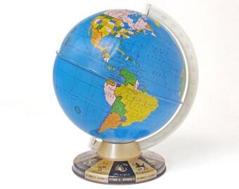 Vintage Ohio Art 9 Inch Tin Globe with Zodiac Base
