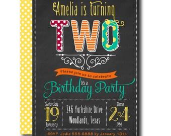 Second Birthday Chalkboard Invitation. 2nd Birthday Invite. Little Girl Birthday Invitation. Printable Invitation,  Yellow, Red. Green 1002b