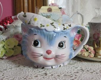 Vintage Lefton Miss Priss Kitten Creamer-Mint