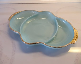 Fire King Blue Delphite Turquoise Divided Dish with 24K Gold Edge-MINT Condition