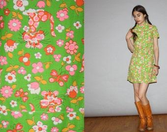 Vintage 1960s Novelty Neon Floral Tiger Flower Shift Scooter Dress  -  1960s Short  Dresses  - 60s Novelty Print Floral  Dress  - WD0821