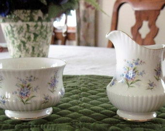 Vintage Queen's Fine Bone China Forget-Me-Not Sugar & Creamer Set England Countryside Series