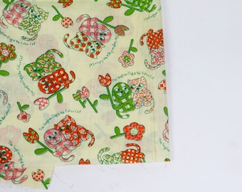 Vintage Fabric / Novelty Print Fabric / Dog Cat Print Fabric / Cotton Fabric Yardage / Gingham Dog Calico Cat Dress Fabric Full Skirt Fabric