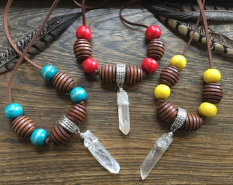 Quartz and wood tribal necklace, wood bead statement necklace