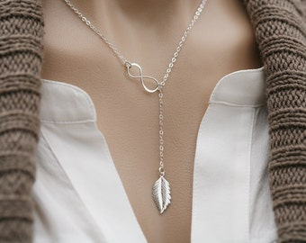 Silver or gold  Infinity feather lariat Y necklace,long leaf,feather necklace,bridesmaid gifts,Wedding jewelry,figure eight feather necklace