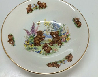 Vintage Child's Cereal Bowl - James Kent Old Foley Bowl with Bears and Bunny